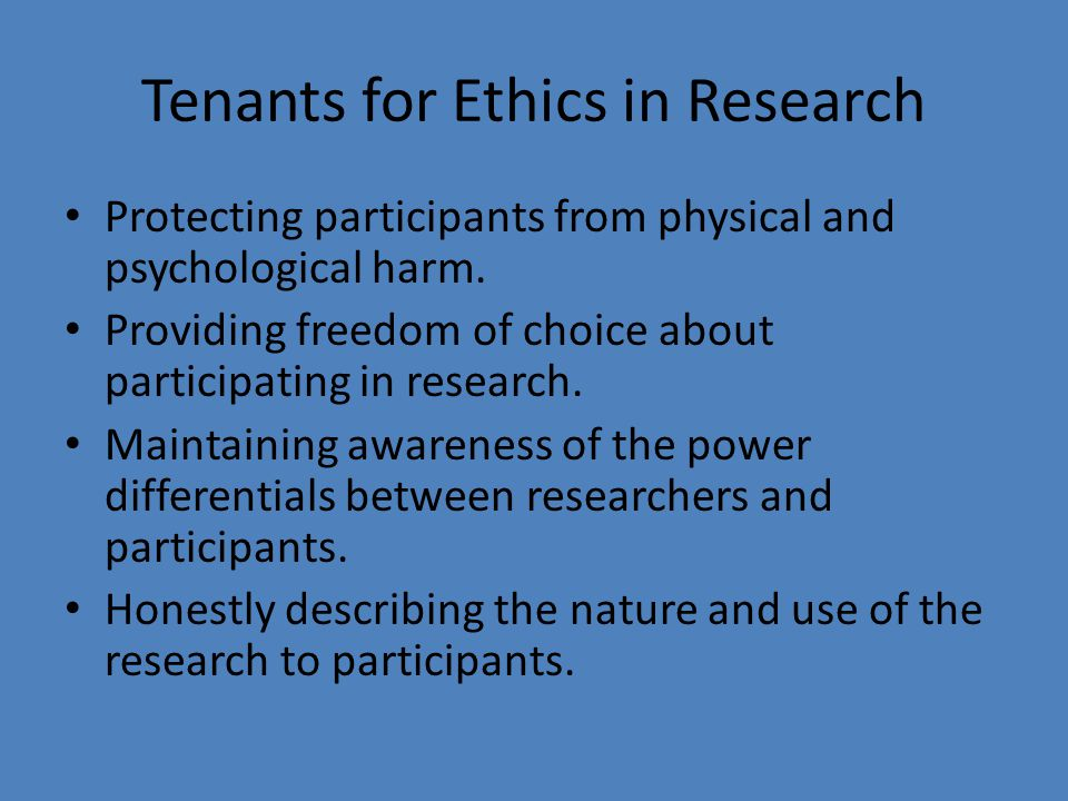Tenants for Ethics in Research