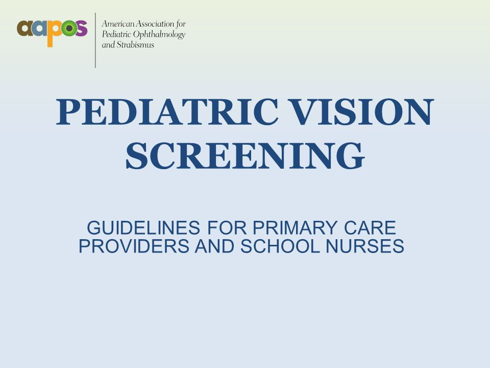 pediatric vision screening Vision screening recommendations techniques for pediatric vision screening statement issued by aapos approved by aapos board of directors- may, 2014  refer children who cannot read at least 20/32 with either eye must be able to identify the majority of the optotypes on the 20/32 line.