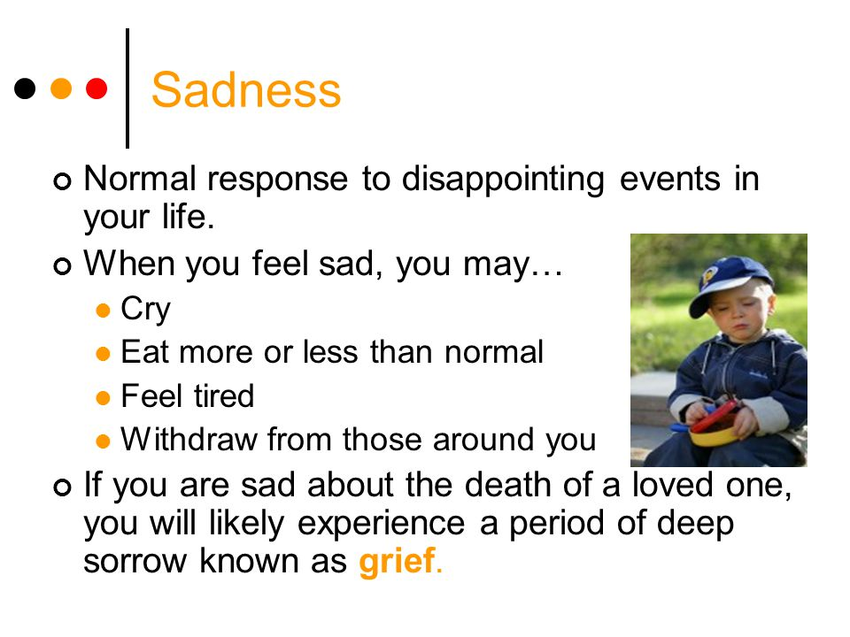 Sadness Normal response to disappointing events in your life.
