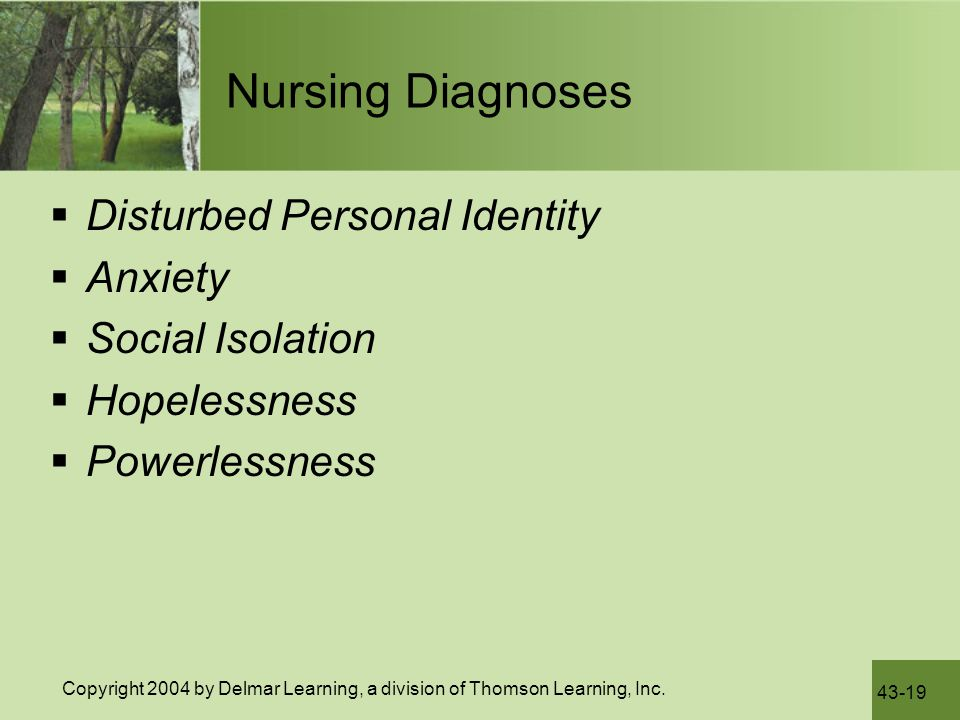 Nursing Diagnoses Disturbed Personal Identity Anxiety Social Isolation