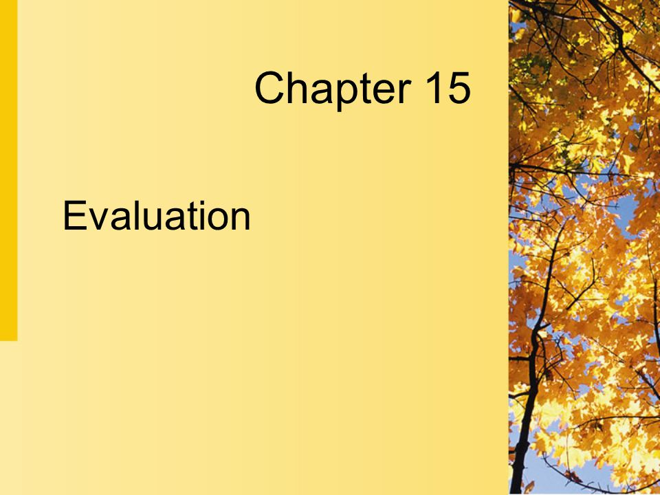 Chapter 15 Evaluation