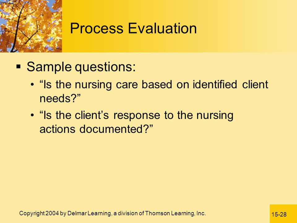 Process Evaluation Sample questions: