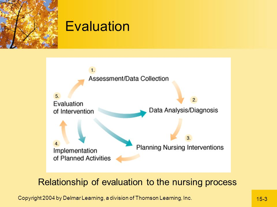 Relationship of evaluation to the nursing process