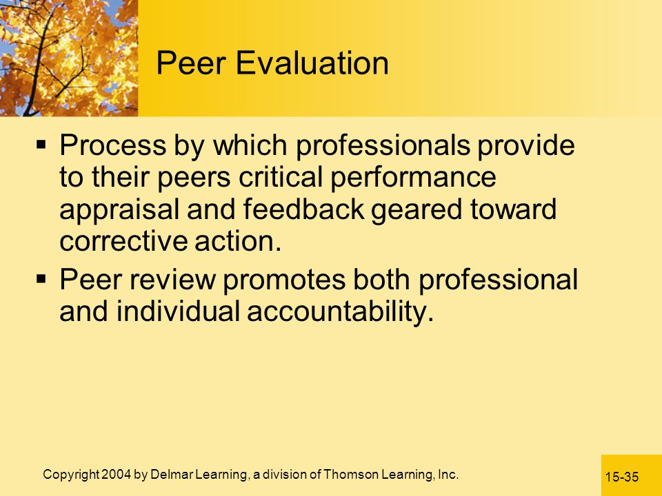 Peer Evaluation Process by which professionals provide to their peers critical performance appraisal and feedback geared toward corrective action.