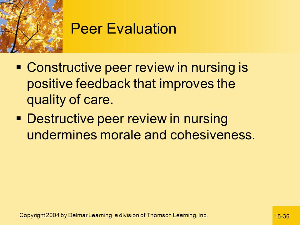 Peer Evaluation Constructive peer review in nursing is positive feedback that improves the quality of care.
