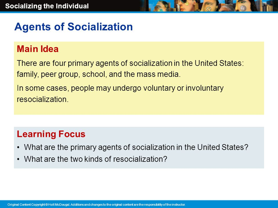 four primary agents of socialization