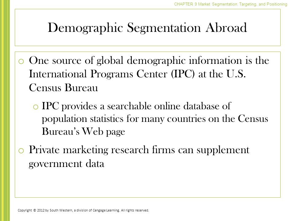 Demographic Segmentation Abroad