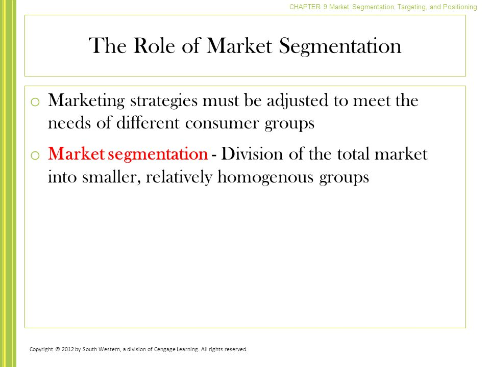 The Role of Market Segmentation