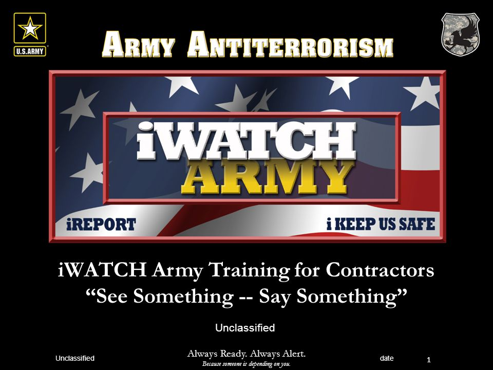 iWATCH Army Training for Contractors See Something -- Say Something