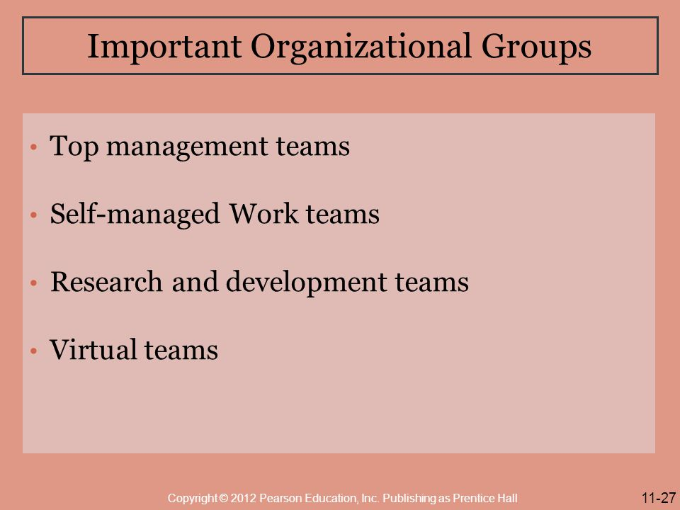 Important Organizational Groups
