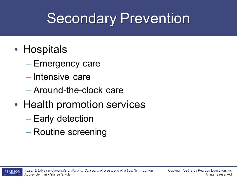Secondary Prevention Hospitals Health promotion services