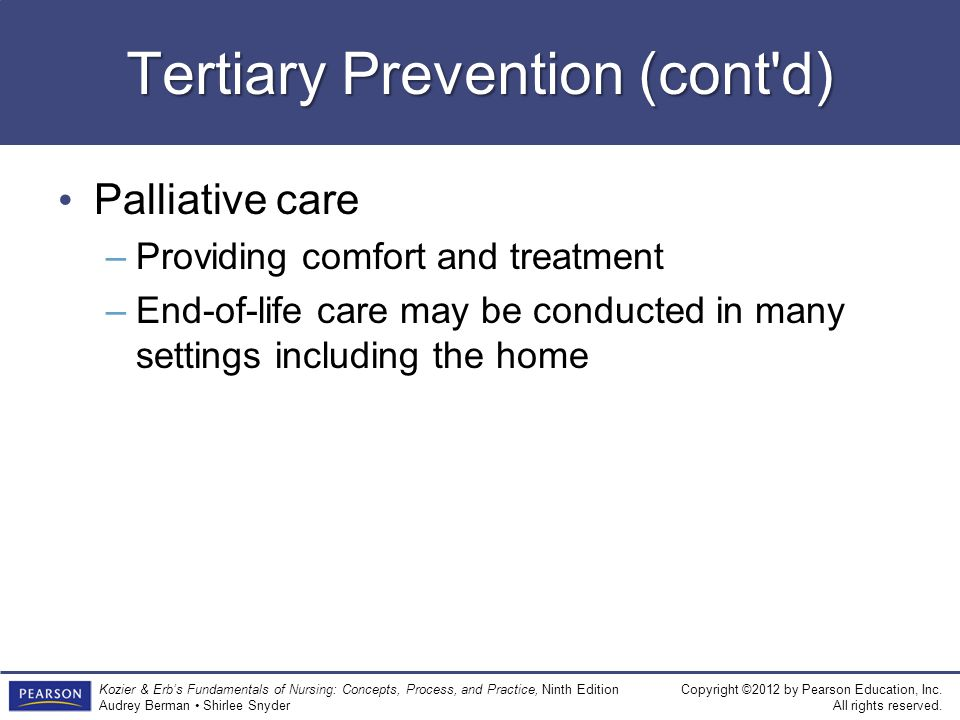 Tertiary Prevention (cont d)