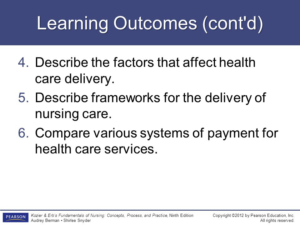 Learning Outcomes (cont d)
