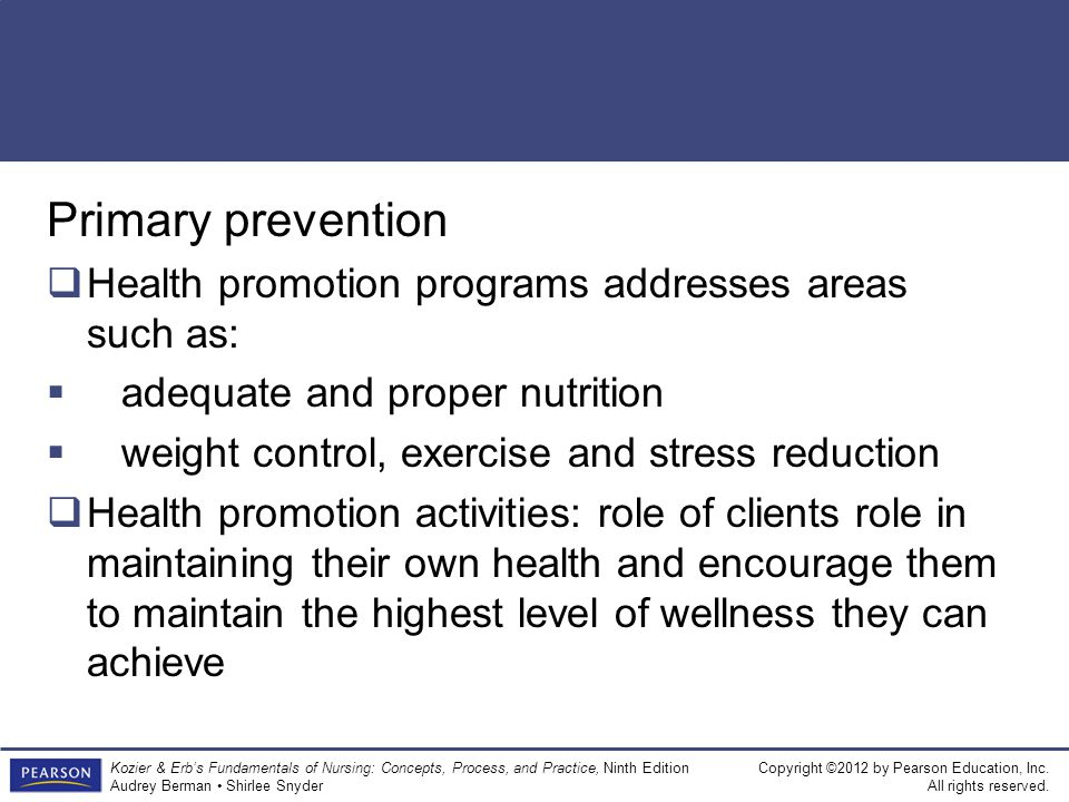 Primary prevention Health promotion programs addresses areas such as: