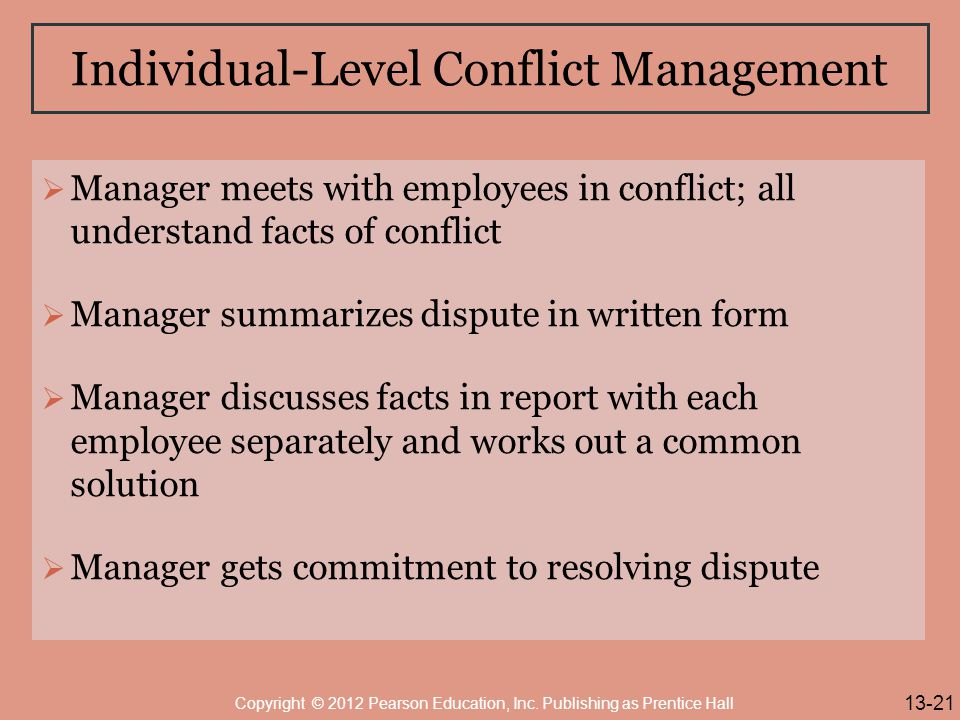 Individual-Level Conflict Management