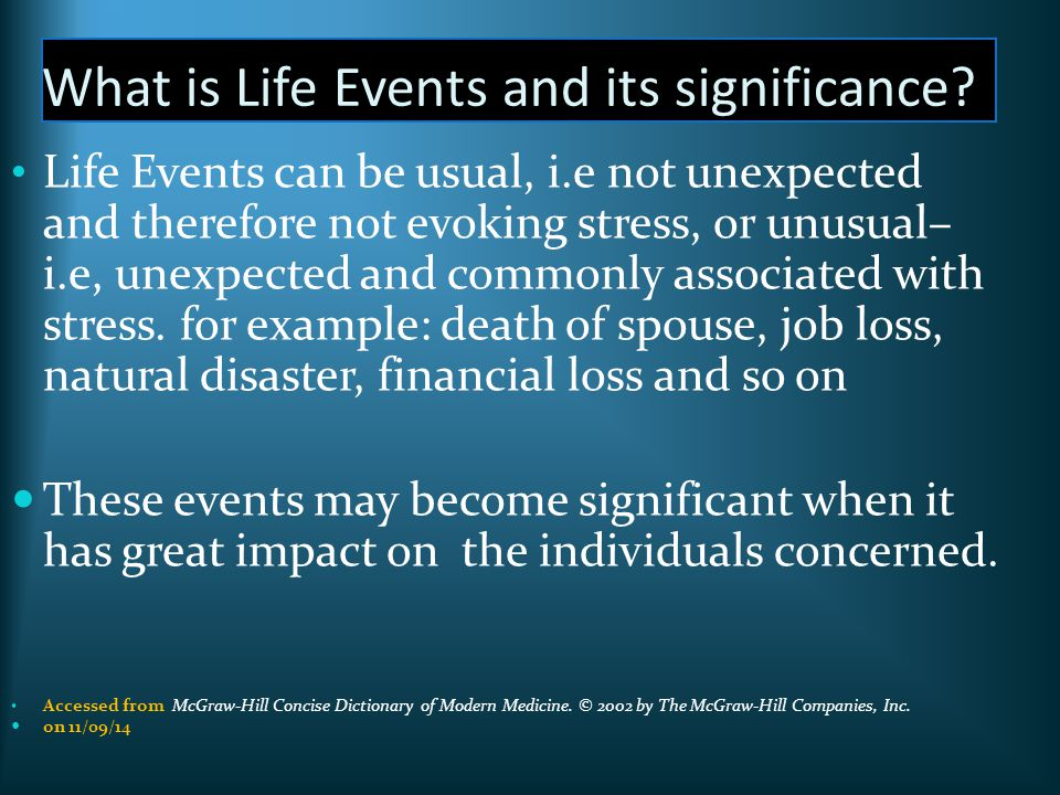 explain the impact of significant life events on individuals