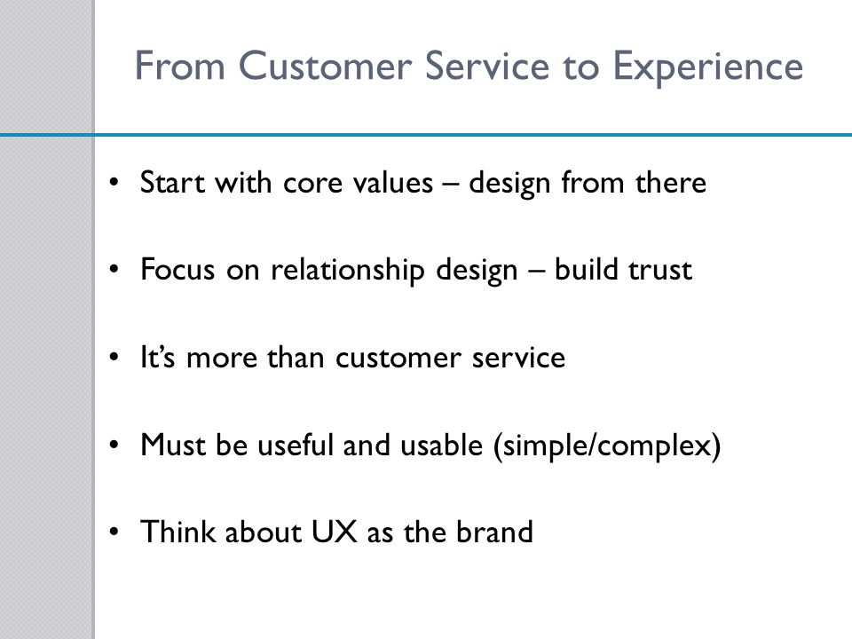 From Customer Service to Experience