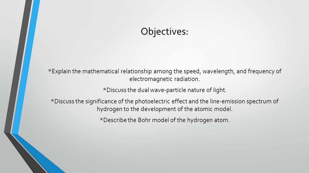 Objectives: *Explain the mathematical relationship among the speed, wavelength, and frequency of electromagnetic radiation.