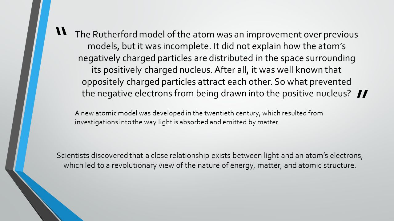 The Rutherford model of the atom was an improvement over previous models, but it was incomplete. It did not explain how the atom's negatively charged particles are distributed in the space surrounding its positively charged nucleus. After all, it was well known that oppositely charged particles attract each other. So what prevented the negative electrons from being drawn into the positive nucleus