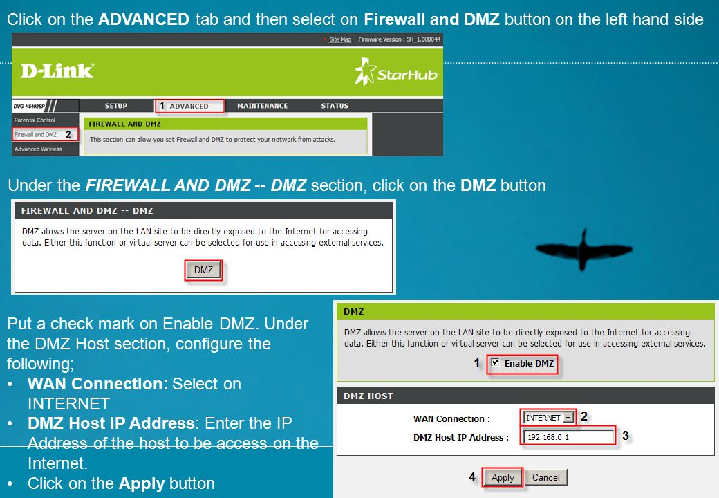 Click on the ADVANCED tab and then select on Firewall and DMZ button on the left hand side