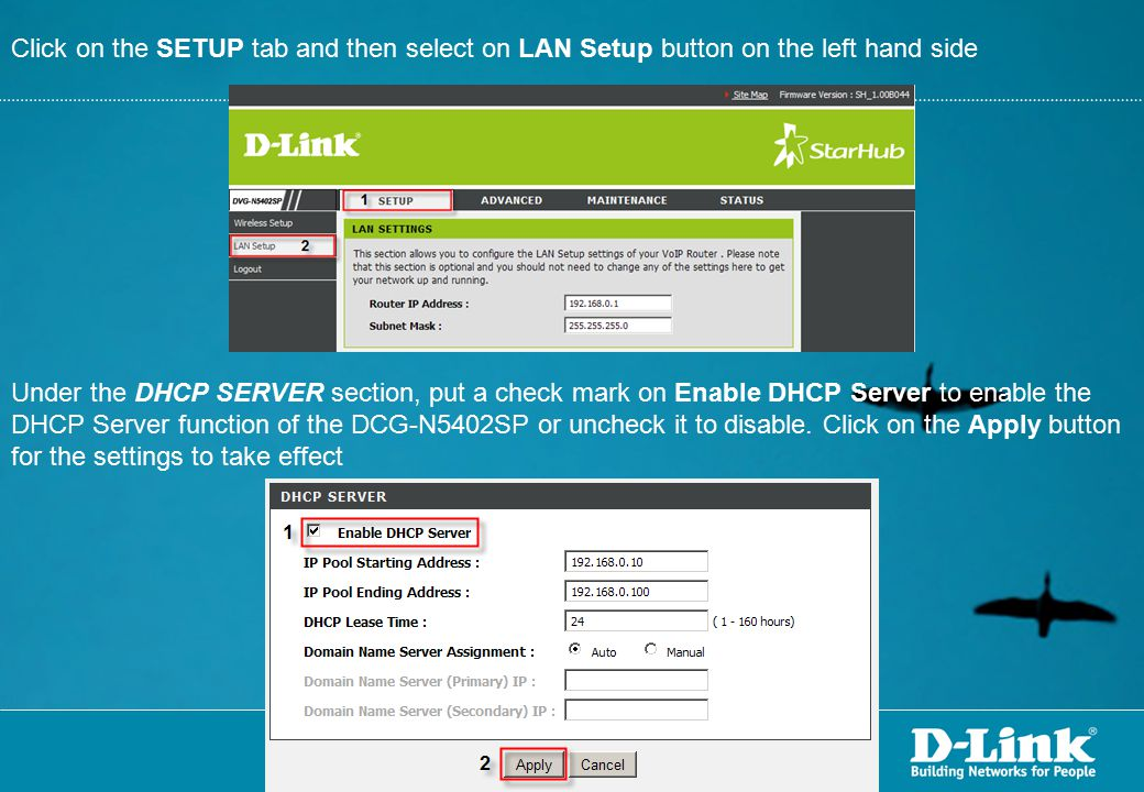 Click on the SETUP tab and then select on LAN Setup button on the left hand side
