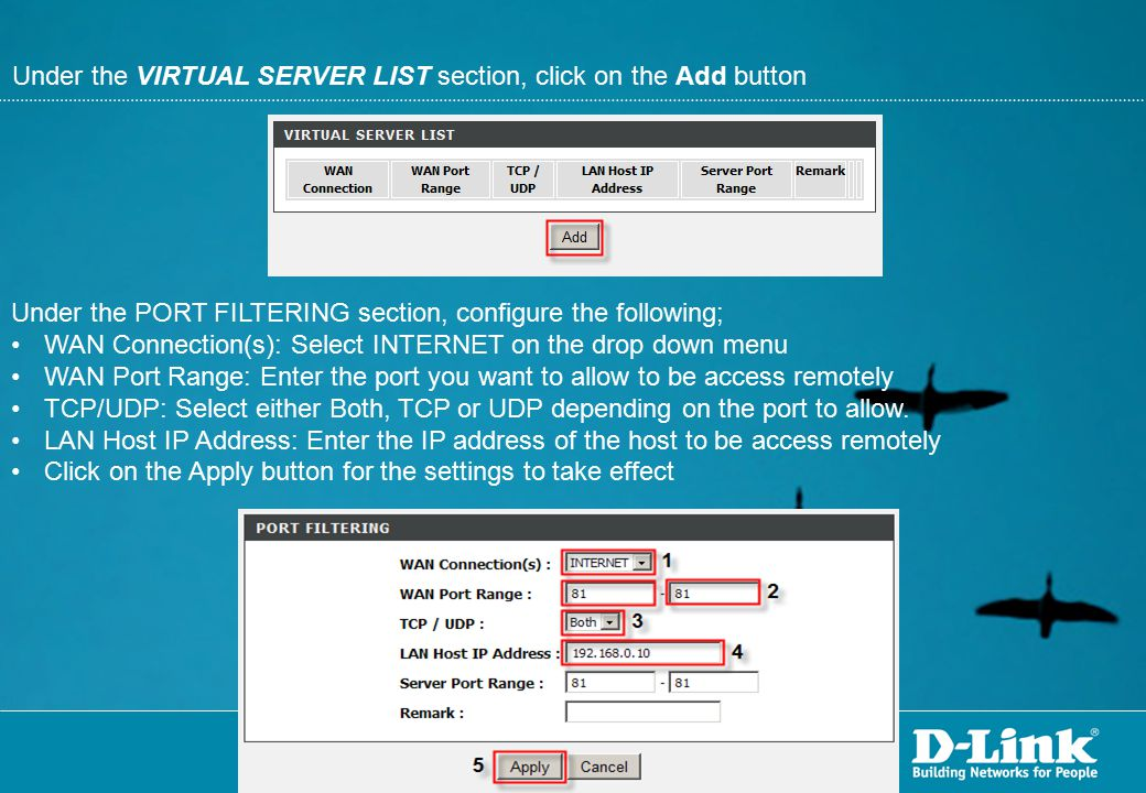 Under the VIRTUAL SERVER LIST section, click on the Add button