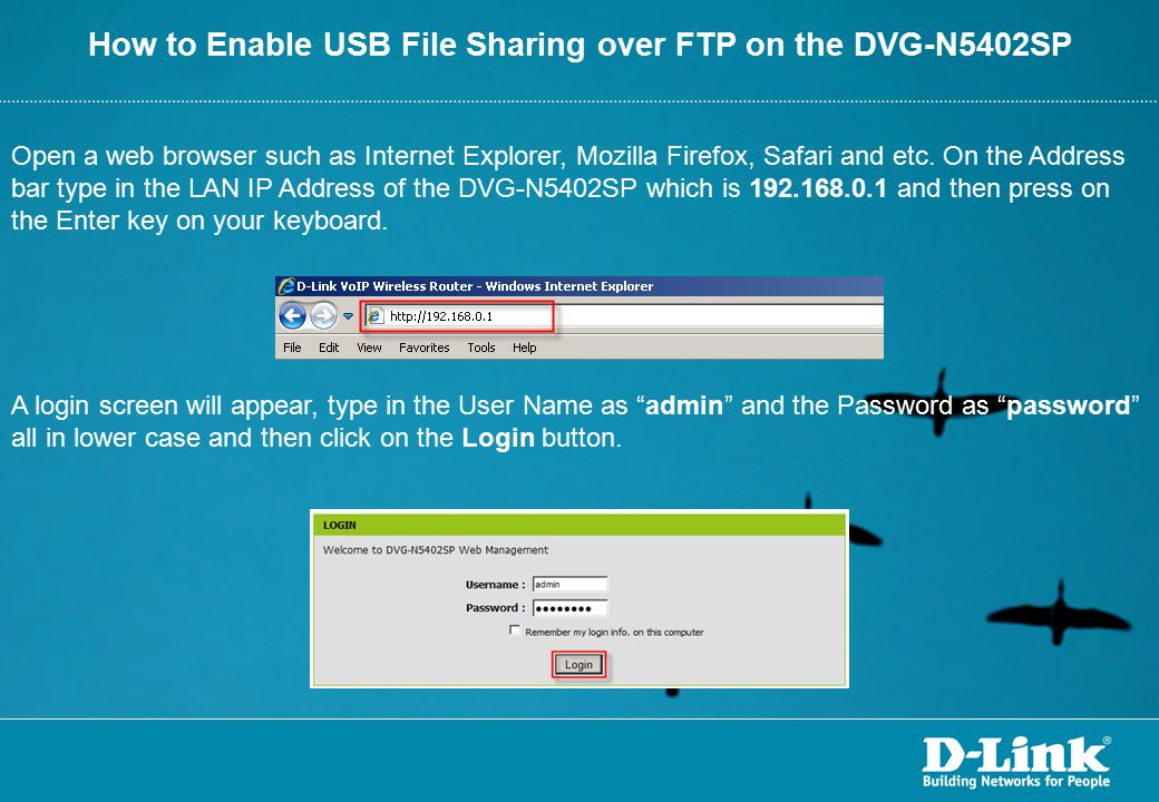 How to Enable USB File Sharing over FTP on the DVG-N5402SP