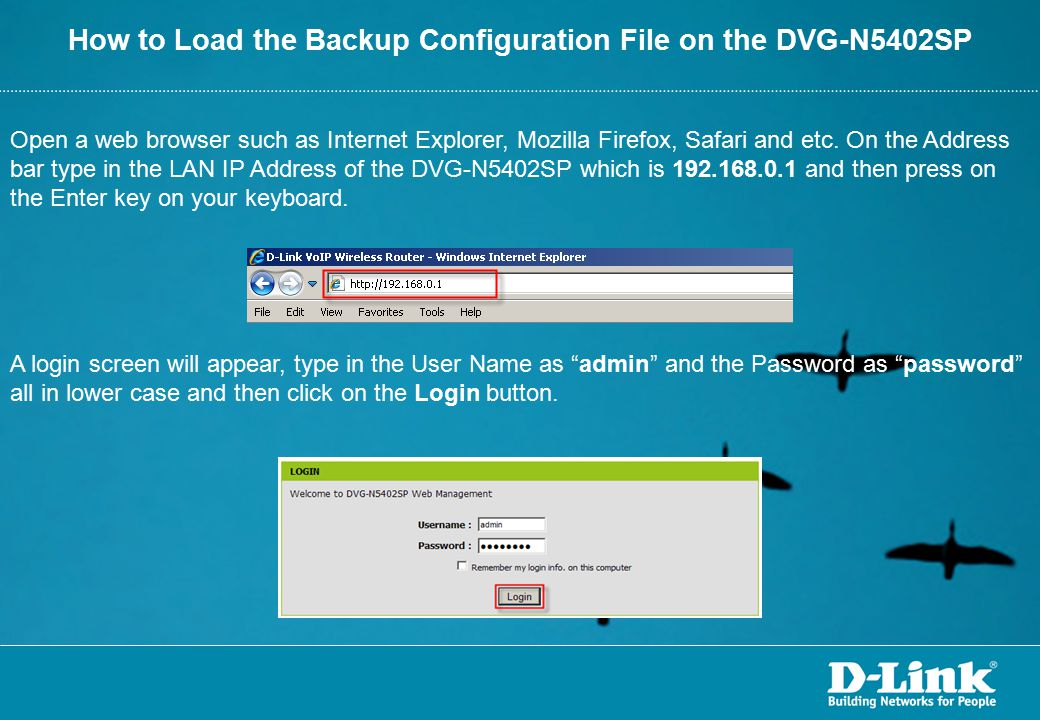 How to Load the Backup Configuration File on the DVG-N5402SP