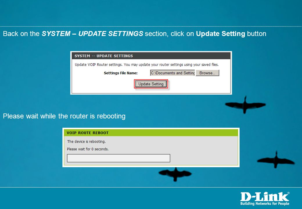 Back on the SYSTEM – UPDATE SETTINGS section, click on Update Setting button