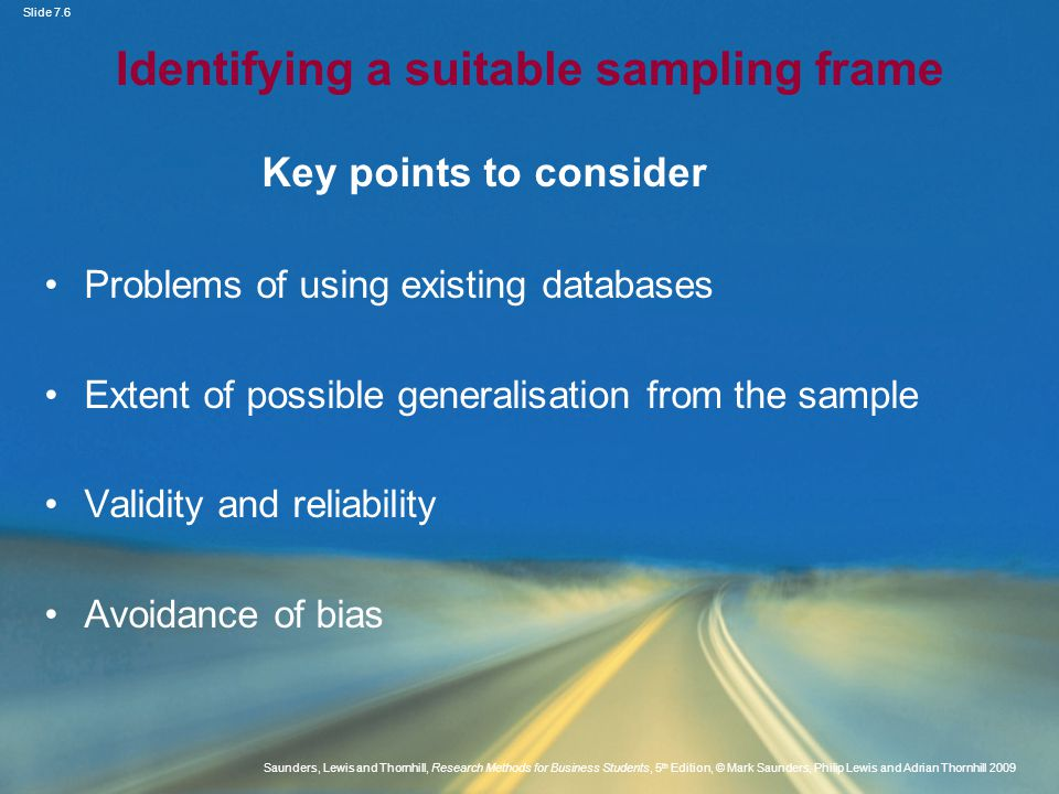 Identifying a suitable sampling frame