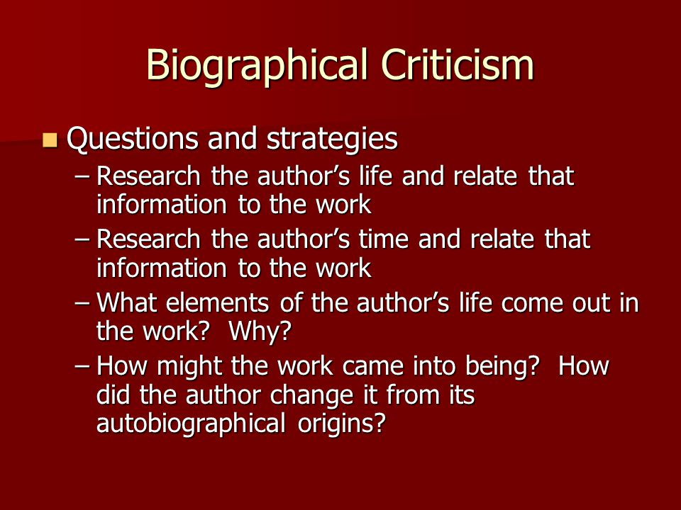 biographical criticism