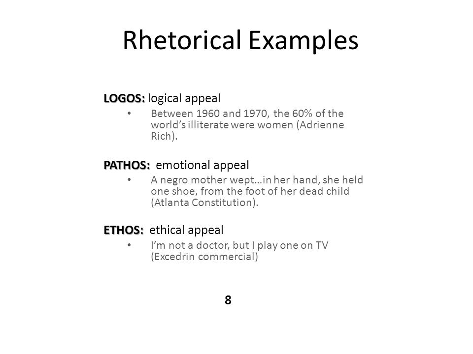 Rhetorical Examples LOGOS: logical appeal PATHOS: emotional appeal