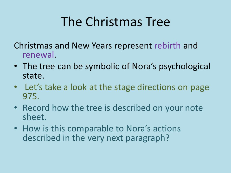 What Does The Christmas Tree Symbolize In A Doll S House