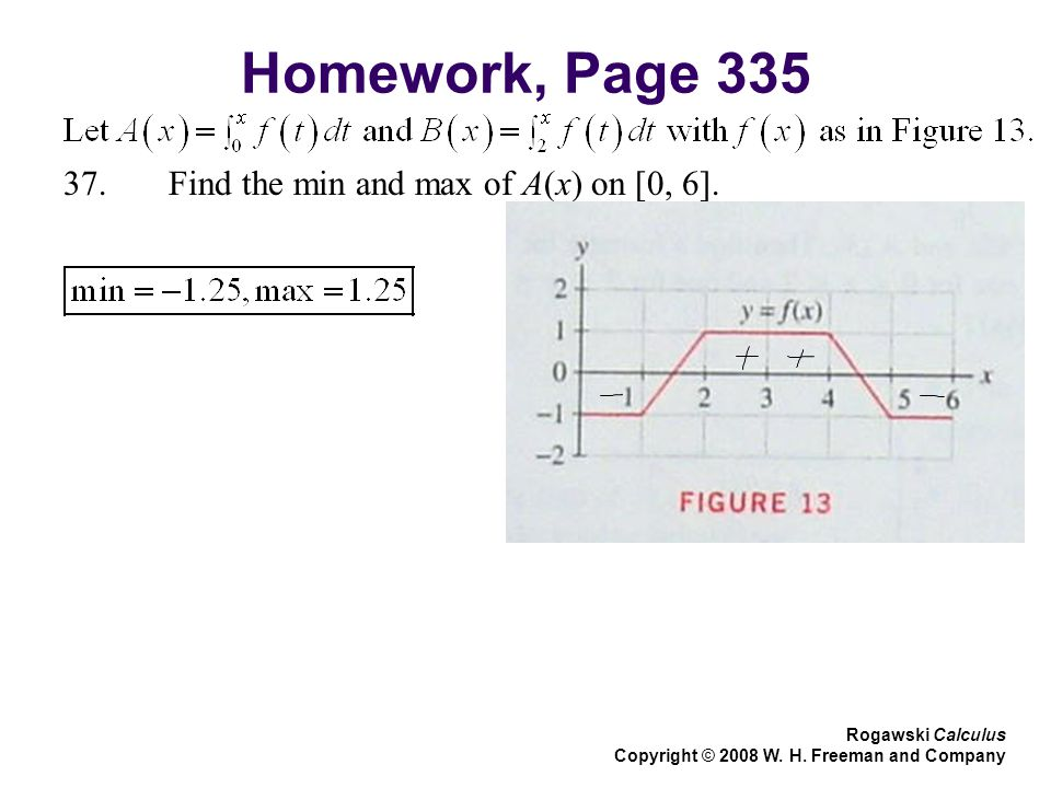 Homework, Page Find the min and max of A(x) on [0, 6].