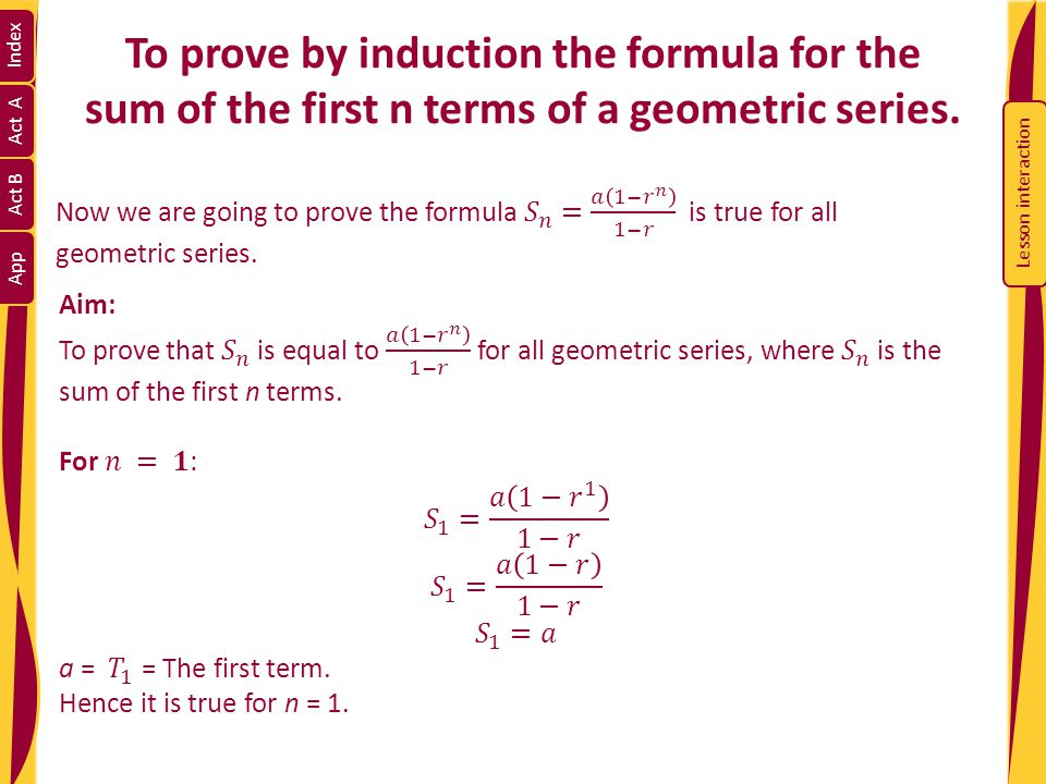 INDEX Section A: An Introduction to Geometric Series