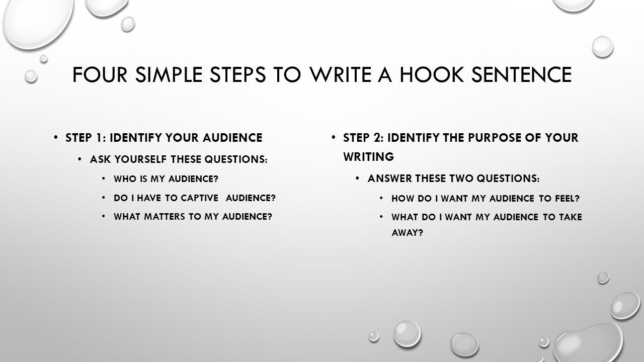Four simple steps to write a hook sentence