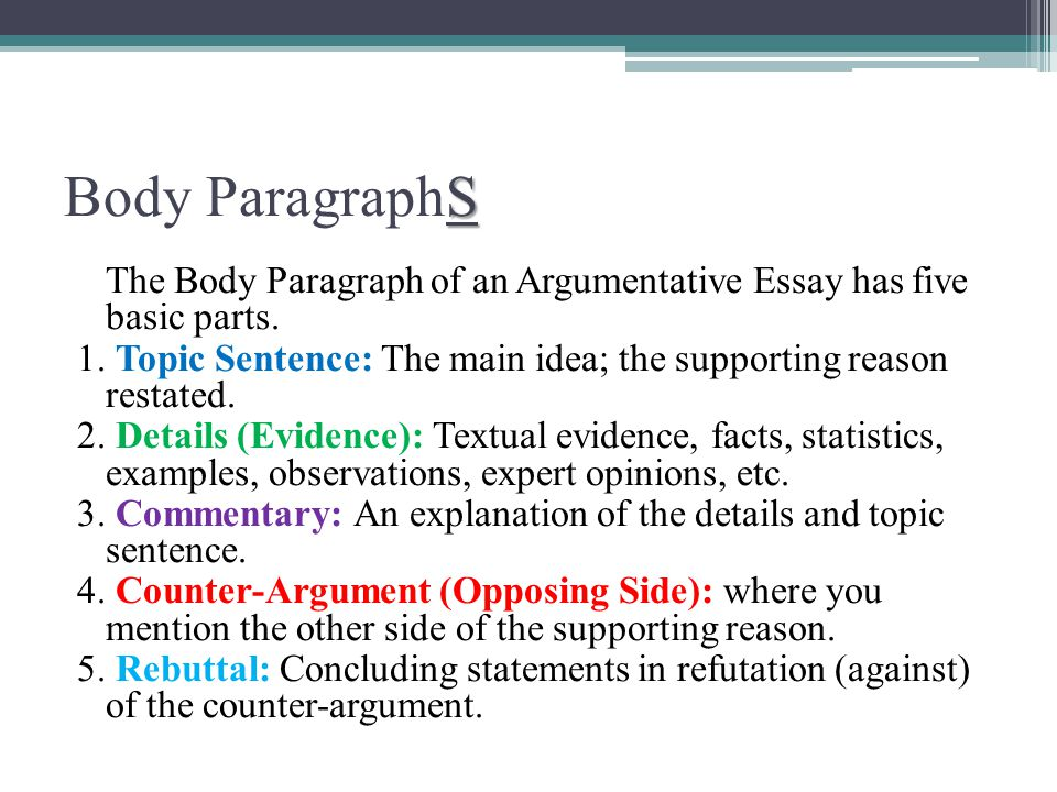 The Argumentative Essay  Ppt Video Online Download Body Paragraphs The Body Paragraph Of An Argumentative Essay Has Five Basic  Parts