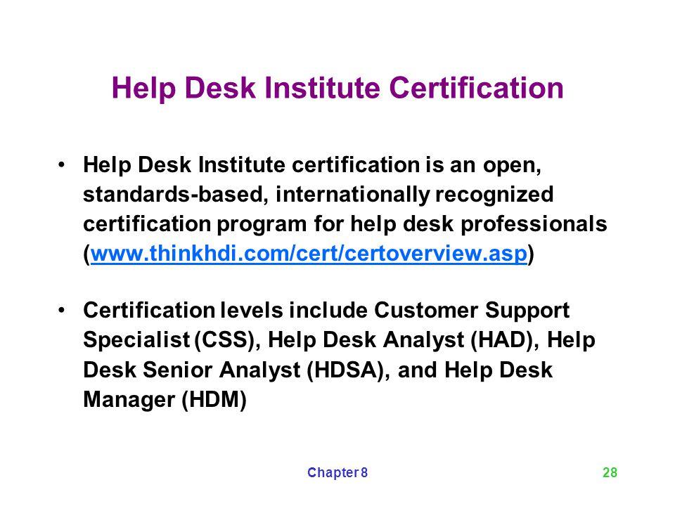 Help Desk Institute Certification