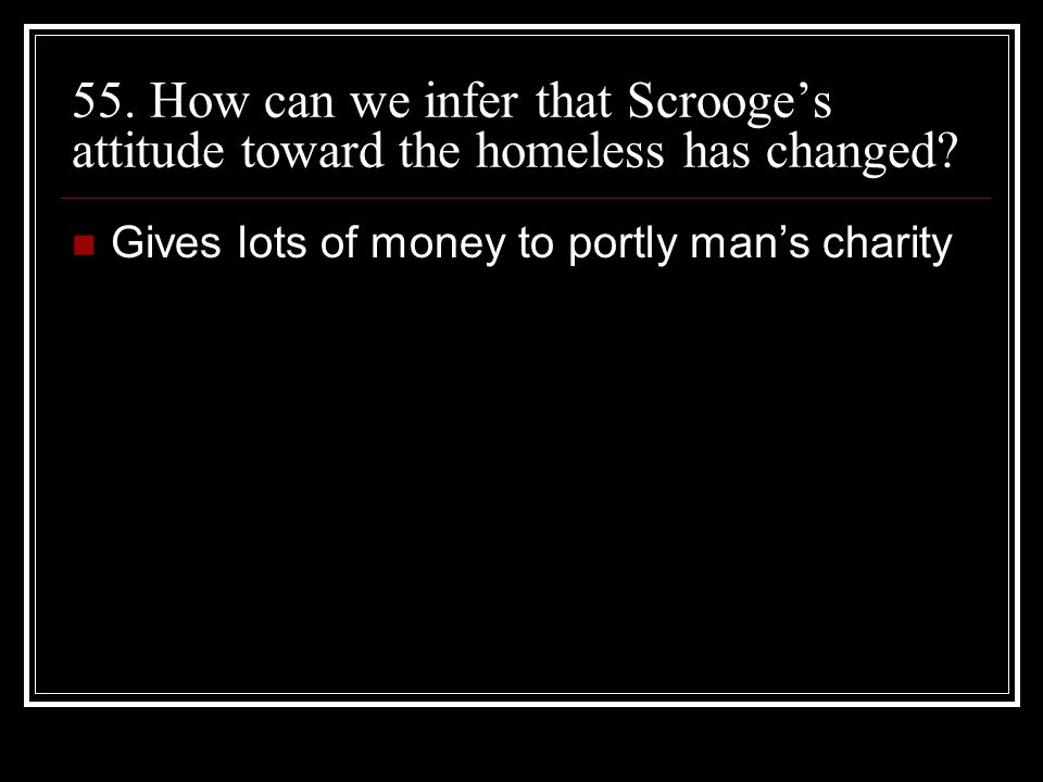 55. How can we infer that Scrooge's attitude toward the homeless has changed