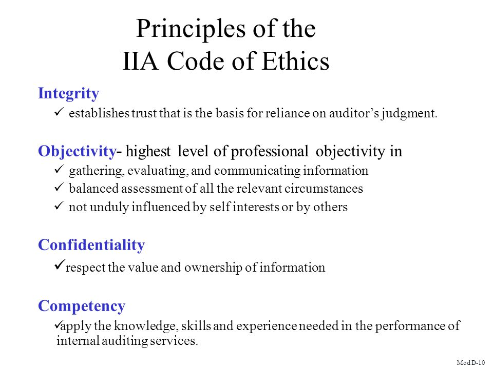 Principles of the IIA Code of Ethics