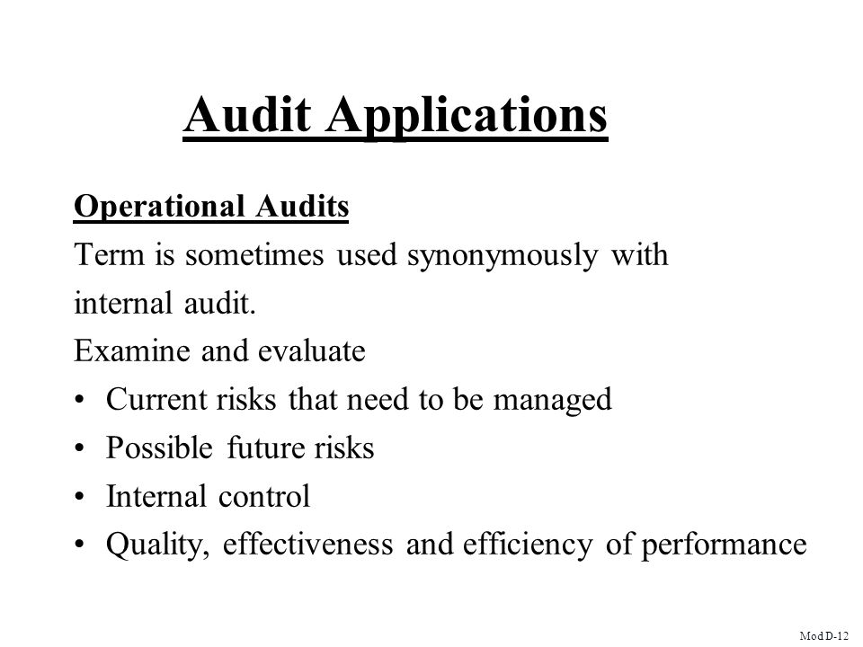 Audit Applications Operational Audits