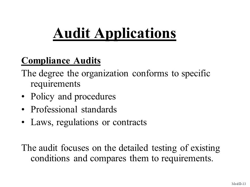 Audit Applications Compliance Audits