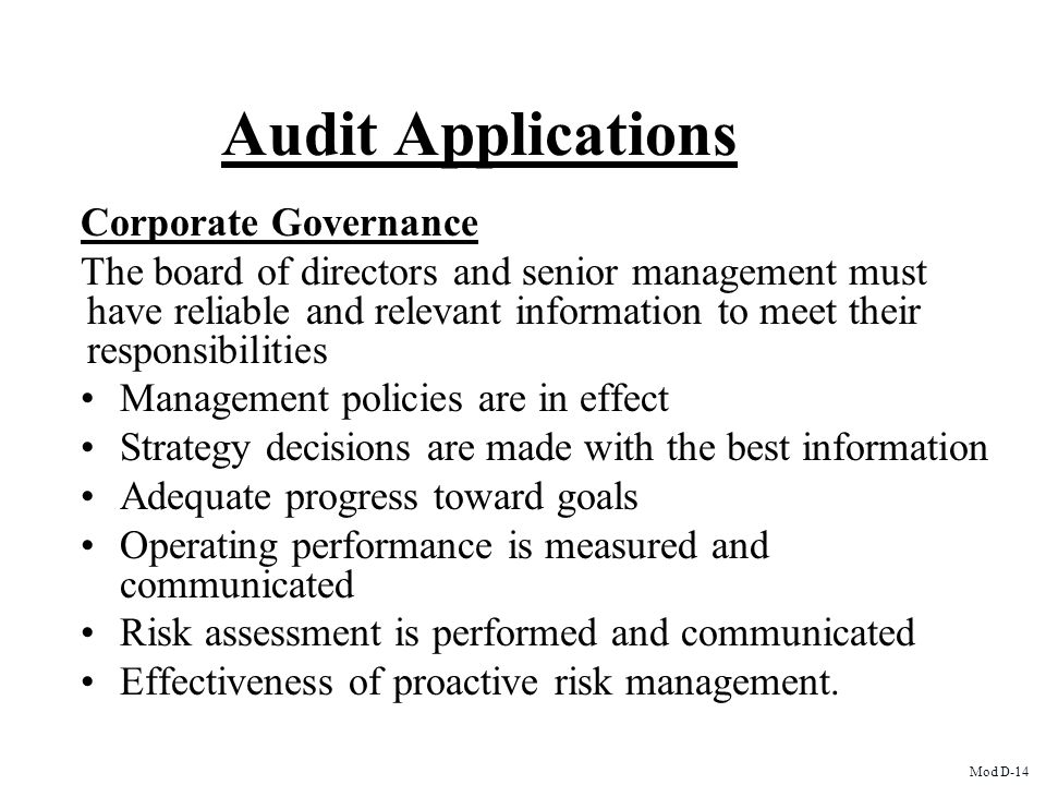 Audit Applications Corporate Governance