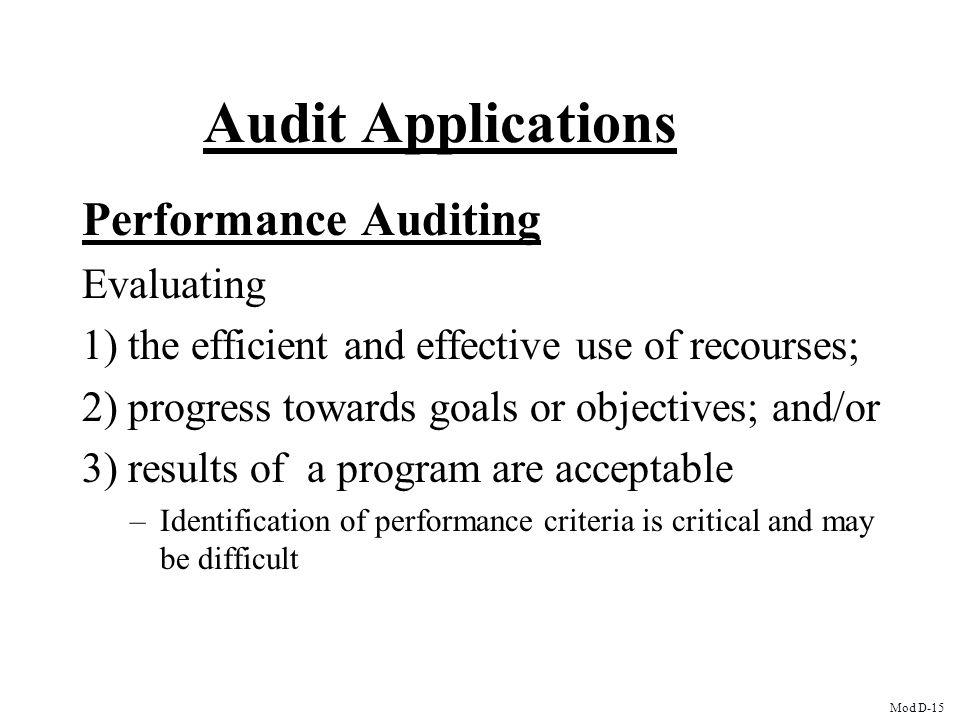 Audit Applications Performance Auditing Evaluating