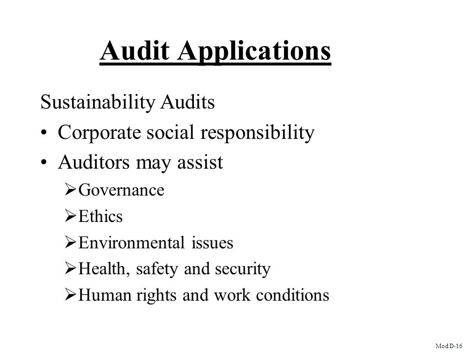 Audit Applications Sustainability Audits