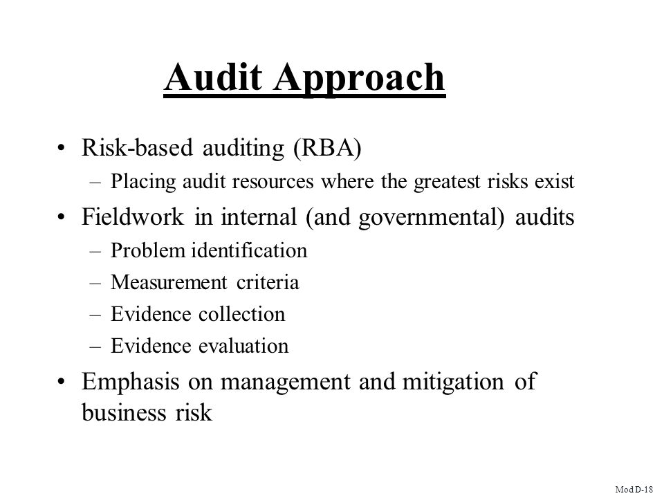 Audit Approach Risk-based auditing (RBA)