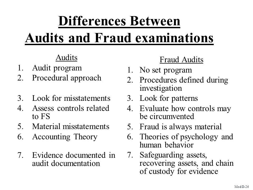 Differences Between Audits and Fraud examinations