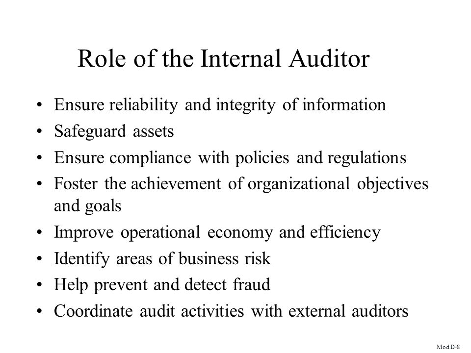 Role of the Internal Auditor