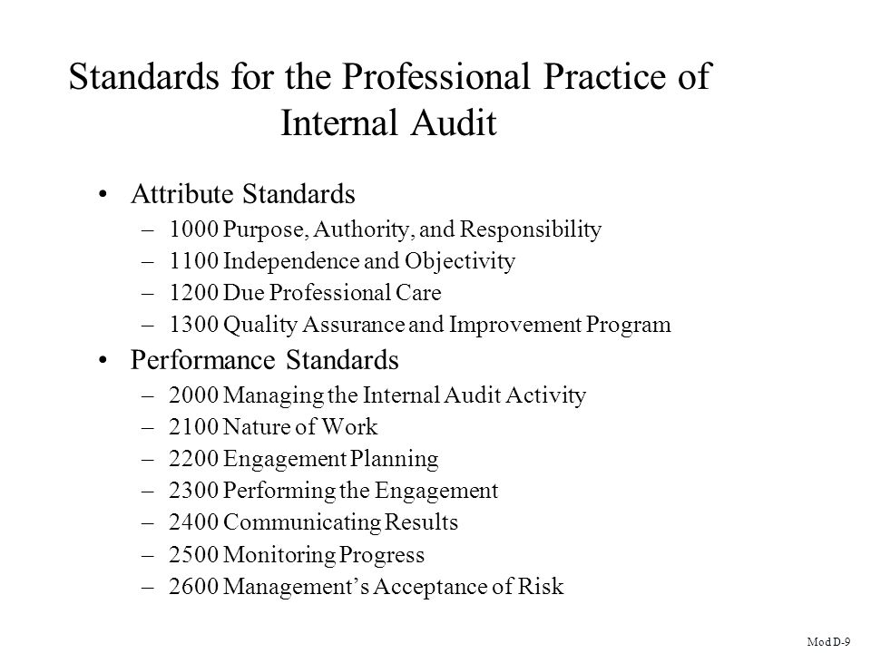 Standards for the Professional Practice of Internal Audit