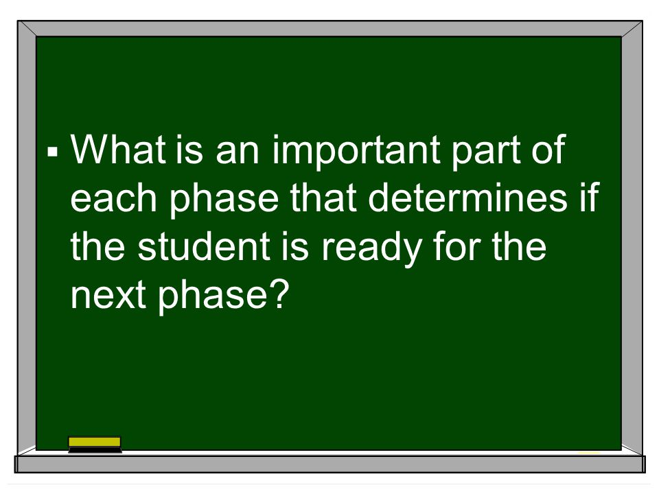 What is an important part of each phase that determines if the student is ready for the next phase